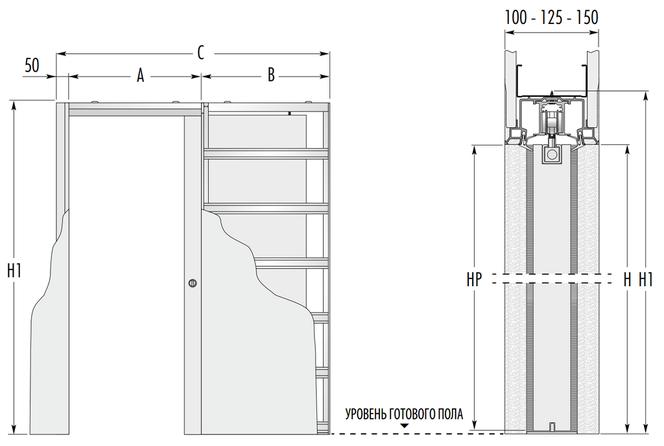 Фронтальный вид и сбоку пенала SYNTESIS® LINE Single с размерами.
