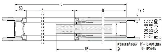 Горизонтальный разверз дверного пенала синтезис лайн сингл от эклис