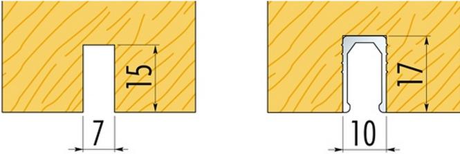 Паз внизу раздвижного дверного полотна для флажка с профилем безопасности и без.